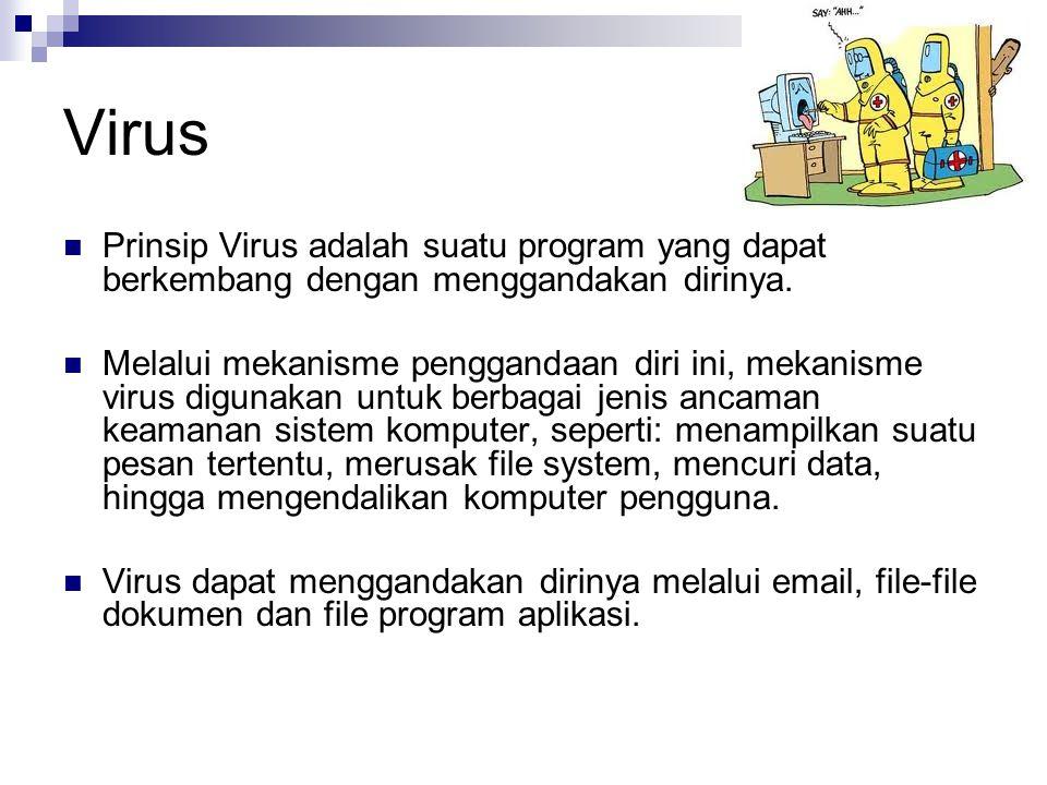 Virus  Prinsip Virus adalah suatu program yang dapat berkembang dengan menggandakan dirinya.  Melalui mekanisme penggandaan diri ini, mekanisme viru