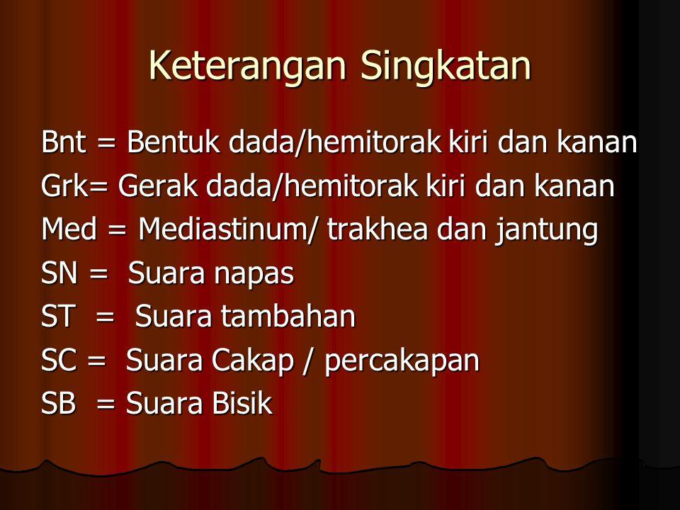 Keterangan Singkatan Bnt = Bentuk dada/hemitorak kiri dan kanan Grk= Gerak dada/hemitorak kiri dan kanan Med = Mediastinum/ trakhea dan jantung SN = Suara napas ST = Suara tambahan SC = Suara Cakap / percakapan SB = Suara Bisik