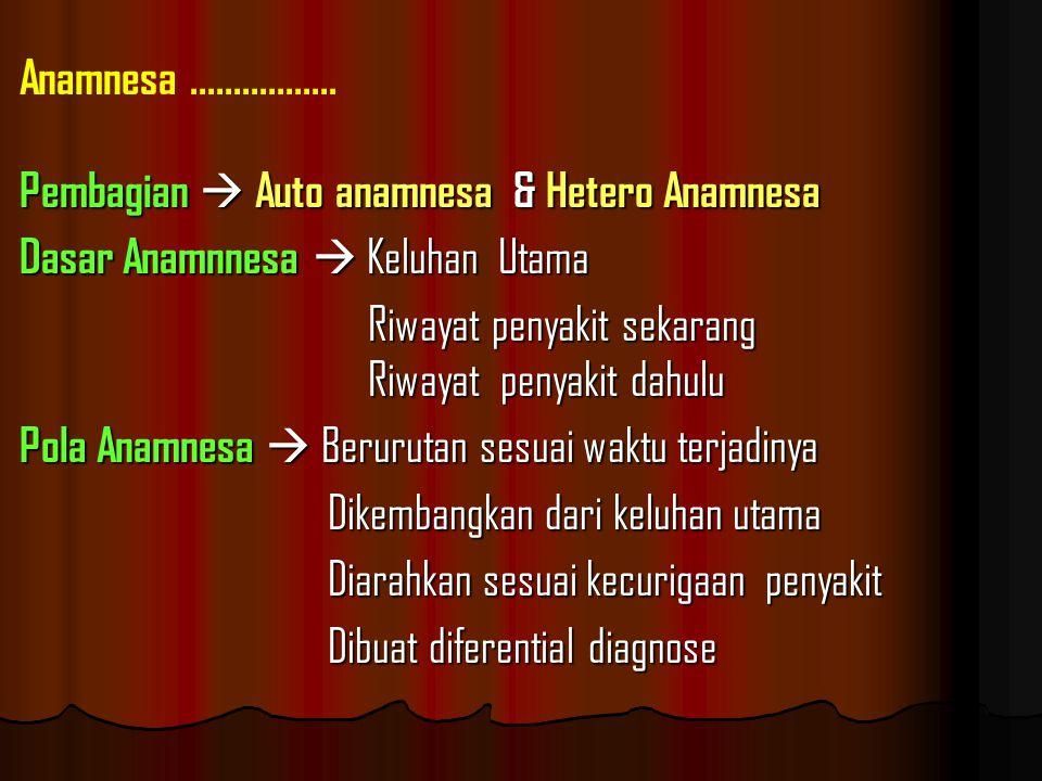 4 Gejala Utama : o Batuk tanpa darah o Batuk darah o Sesak napas ( dengan suara tambahan / tidak ) o Nyeri dada Anamnesa.................