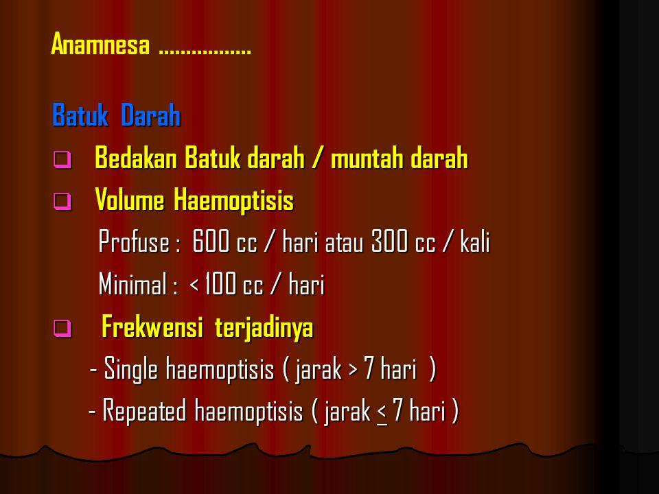 Batuk Darah  Bedakan Batuk darah / muntah darah  Volume Haemoptisis Profuse : 600 cc / hari atau 300 cc / kali Profuse : 600 cc / hari atau 300 cc / kali Minimal : < 100 cc / hari Minimal : < 100 cc / hari  Frekwensi terjadinya - Single haemoptisis ( jarak > 7 hari ) - Single haemoptisis ( jarak > 7 hari ) - Repeated haemoptisis ( jarak < 7 hari ) - Repeated haemoptisis ( jarak < 7 hari ) Anamnesa.................