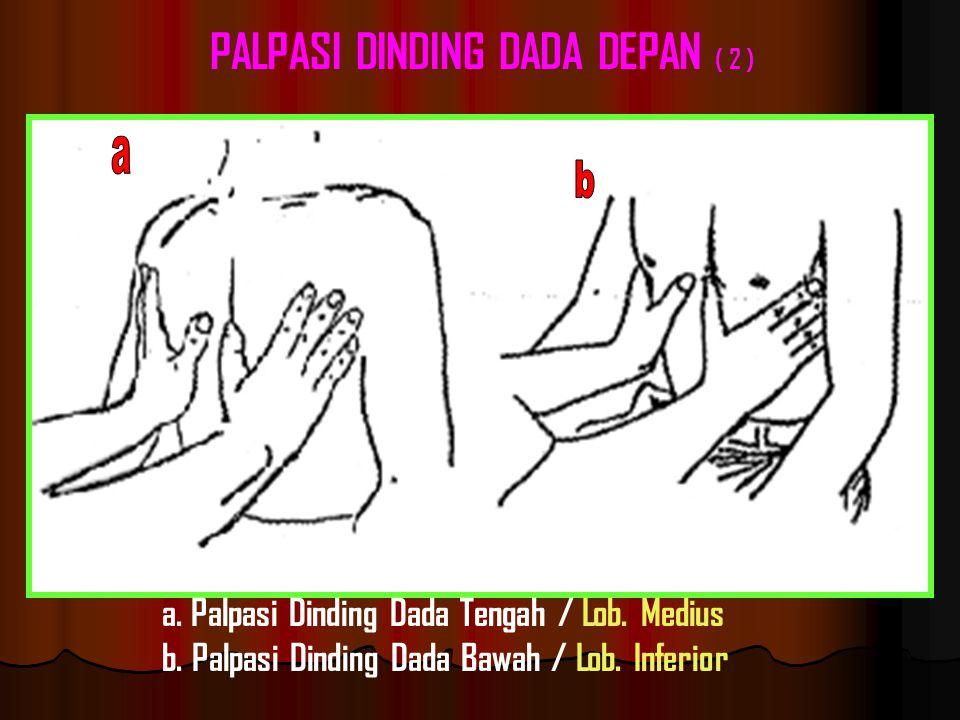 a.Palpasi Dinding Dada Tengah / Lob. Medius b. Palpasi Dinding Dada Bawah / Lob.