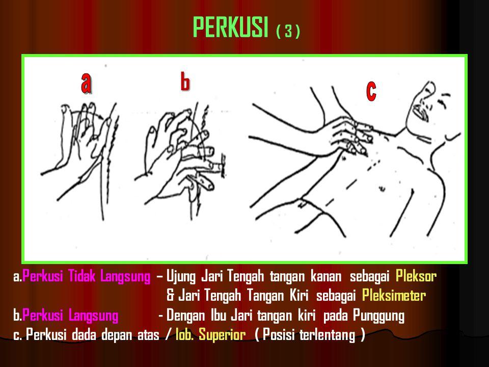 a.Perkusi Tidak Langsung – Ujung Jari Tengah tangan kanan sebagai Pleksor & Jari Tengah Tangan Kiri sebagai Pleksimeter b.Perkusi Langsung - Dengan Ibu Jari tangan kiri pada Punggung c.