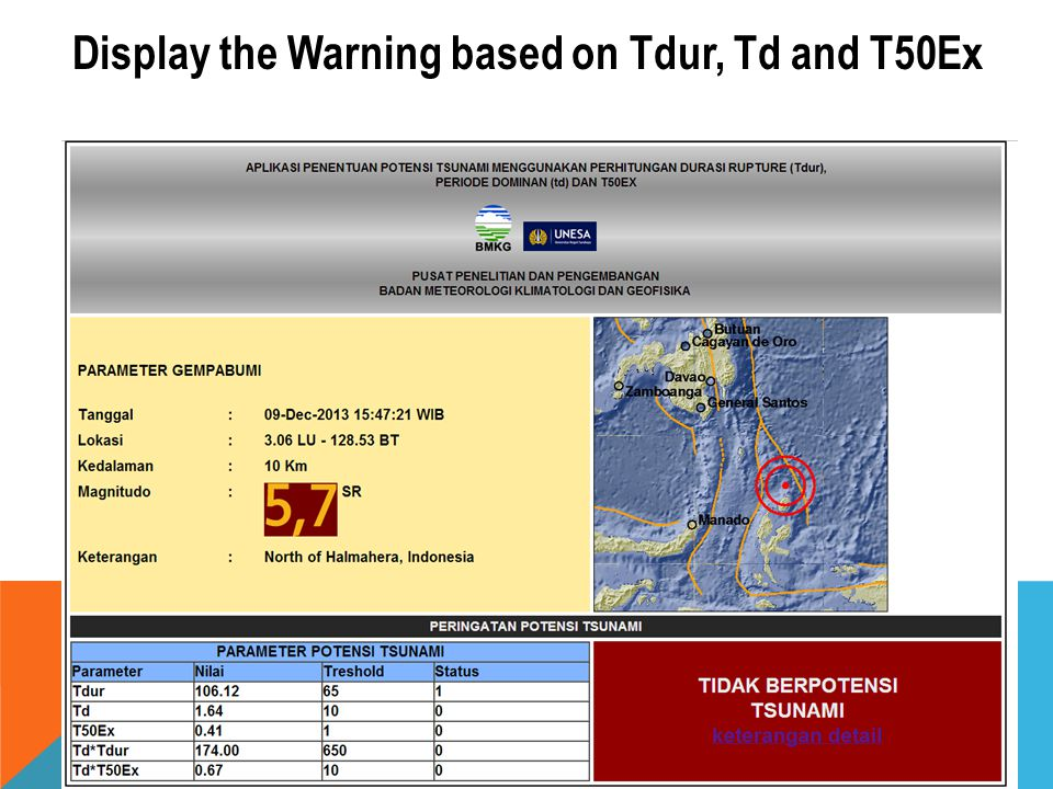 Display the Warning based on Tdur, Td and T50Ex