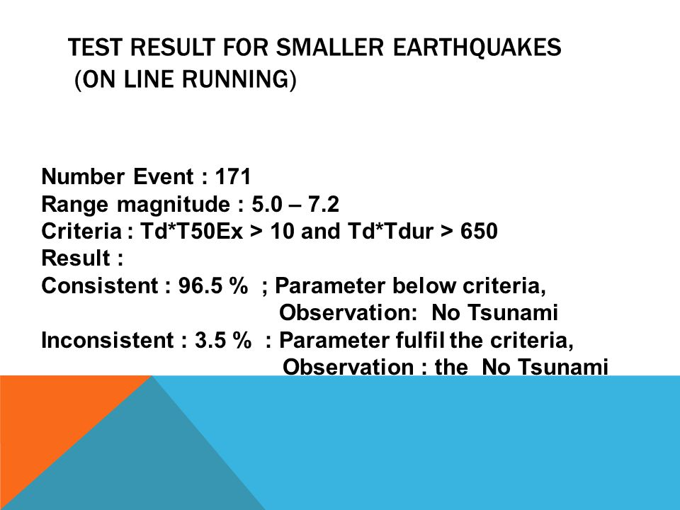 TEST RESULT FOR SMALLER EARTHQUAKES (ON LINE RUNNING) Number Event : 171 Range magnitude : 5.0 – 7.2 Criteria : Td*T50Ex > 10 and Td*Tdur > 650 Result : Consistent : 96.5 % ; Parameter below criteria, Observation: No Tsunami Inconsistent : 3.5 % : Parameter fulfil the criteria, Observation : the No Tsunami