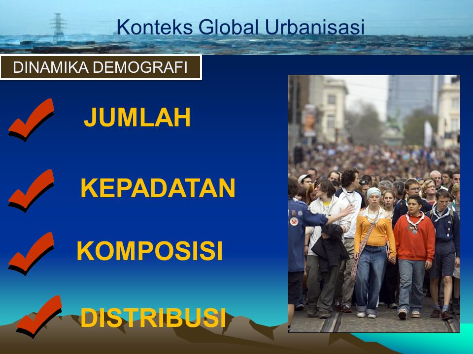 Konteks Global Urbanisasi DINAMIKA DEMOGRAFI JUMLAH KEPADATAN KOMPOSISI DISTRIBUSI