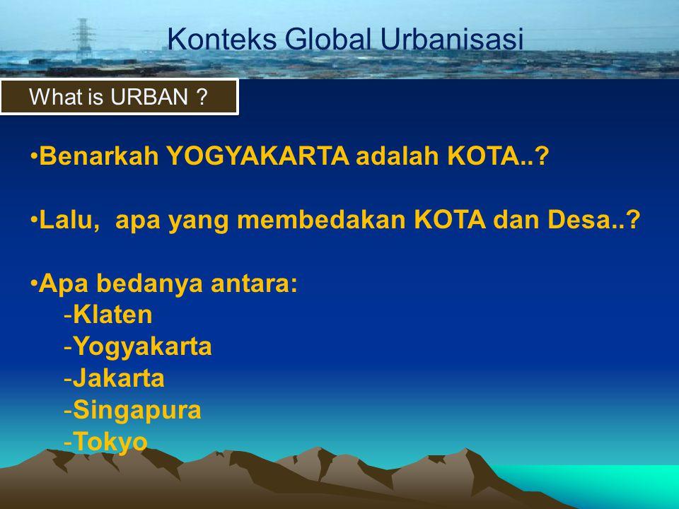 Konsep dan BatasanKonteks Global Urbanisasi What is URBAN ? •Benarkah YOGYAKARTA adalah KOTA..? •Lalu, apa yang membedakan KOTA dan Desa..? •Apa bedan