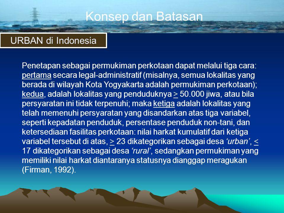 Konsep dan Batasan URBAN di Indonesia Penetapan sebagai permukiman perkotaan dapat melalui tiga cara: pertama secara legal-administratif (misalnya, se