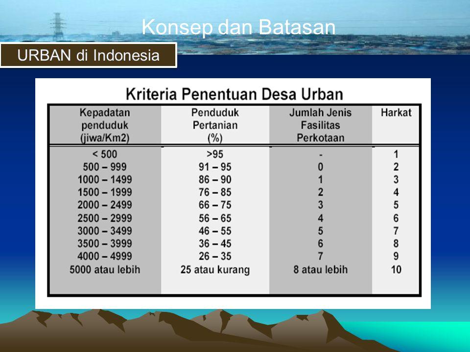 Konsep dan Batasan URBAN di Indonesia