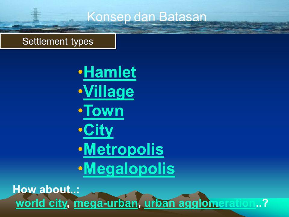Konsep dan Batasan Settlement types •HamletHamlet •VillageVillage •TownTown •CityCity •MetropolisMetropolis •MegalopolisMegalopolis How about..: world