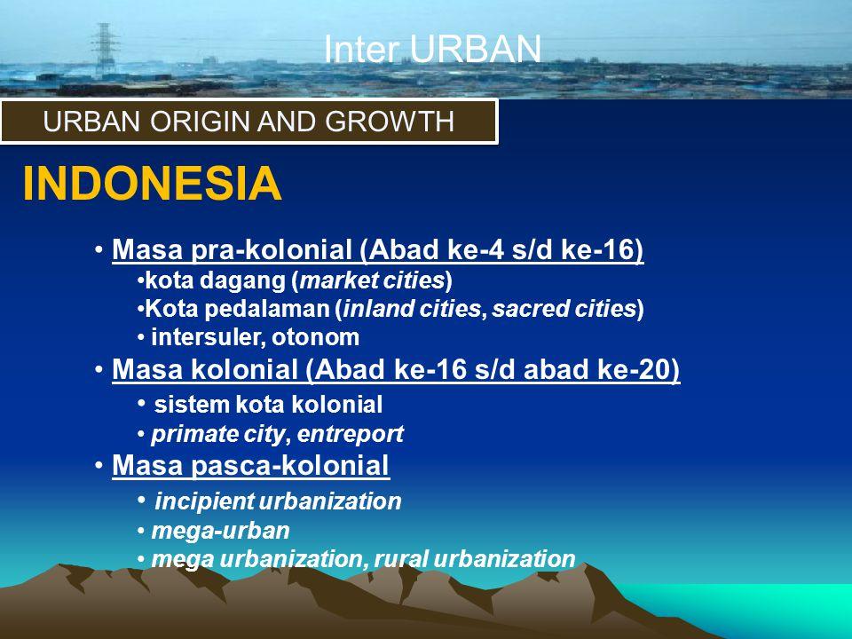 Inter URBAN URBAN ORIGIN AND GROWTH INDONESIA • Masa pra-kolonial (Abad ke-4 s/d ke-16) •kota dagang (market cities) •Kota pedalaman (inland cities, s