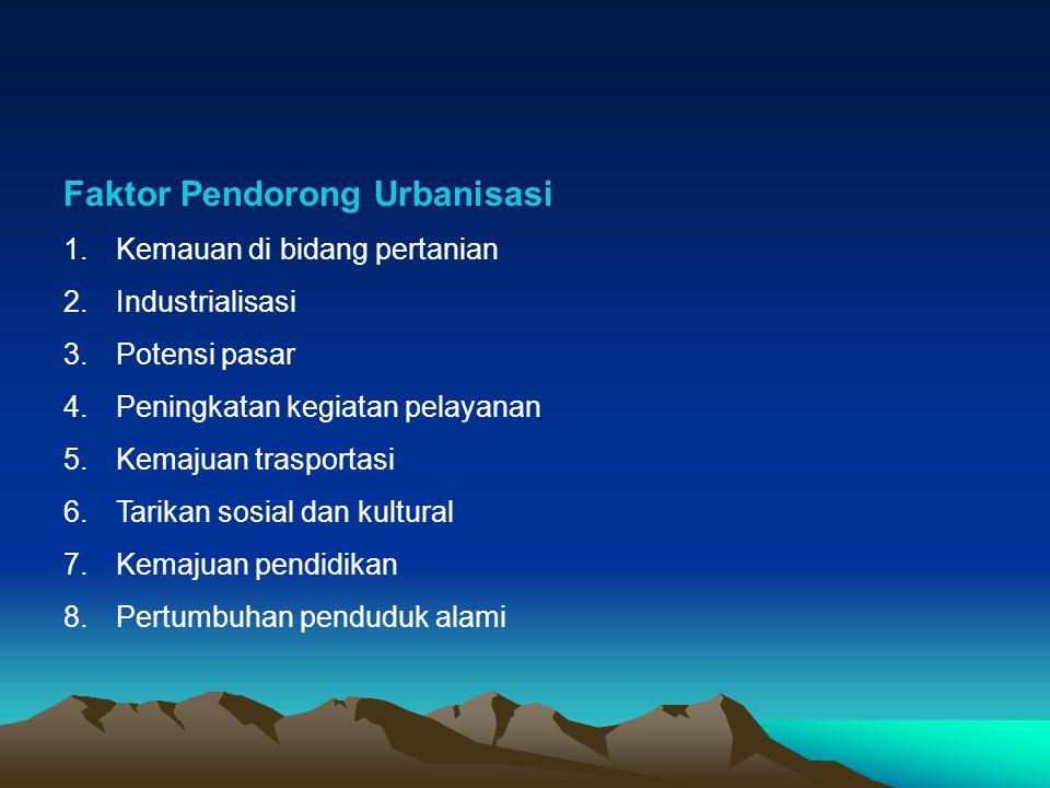 Faktor Pendorong Urbanisasi 1.Kemauan di bidang pertanian 2.Industrialisasi 3.Potensi pasar 4.Peningkatan kegiatan pelayanan 5.Kemajuan trasportasi 6.