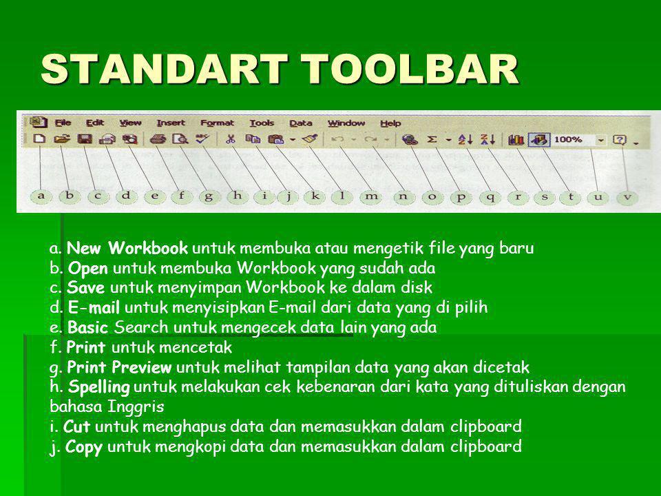 STANDART TOOLBAR a. New Workbook untuk membuka atau mengetik file yang baru b. Open untuk membuka Workbook yang sudah ada c. Save untuk menyimpan Work