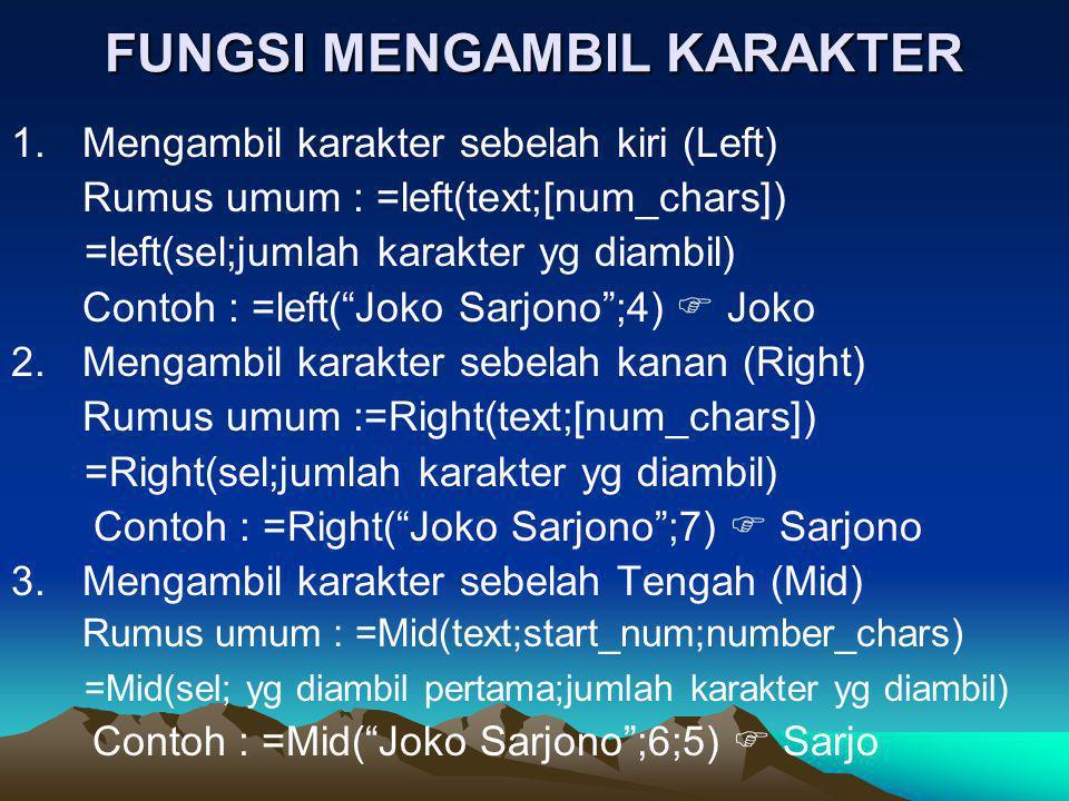 FUNGSI MENGAMBIL KARAKTER 1.Mengambil karakter sebelah kiri (Left) Rumus umum : =left(text;[num_chars]) =left(sel;jumlah karakter yg diambil) Contoh :