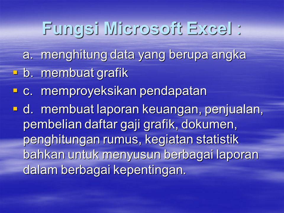 Fungsi Microsoft Excel : a. menghitung data yang berupa angka a. menghitung data yang berupa angka  b. membuat grafik  c. memproyeksikan pendapatan