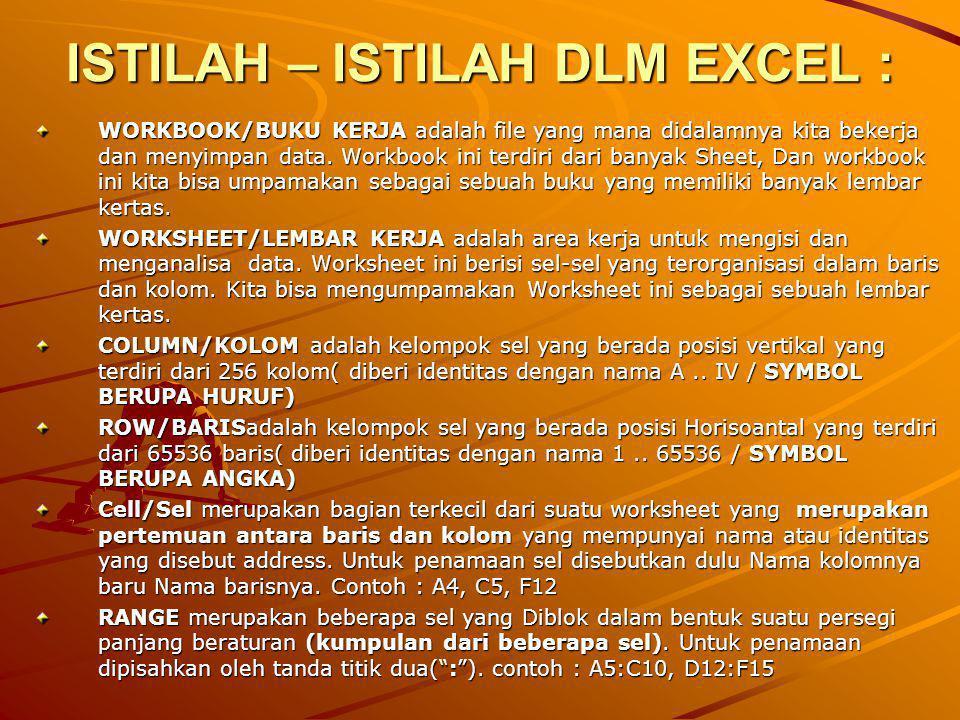 JENIS DATA DLM MS.EXCEL 1.