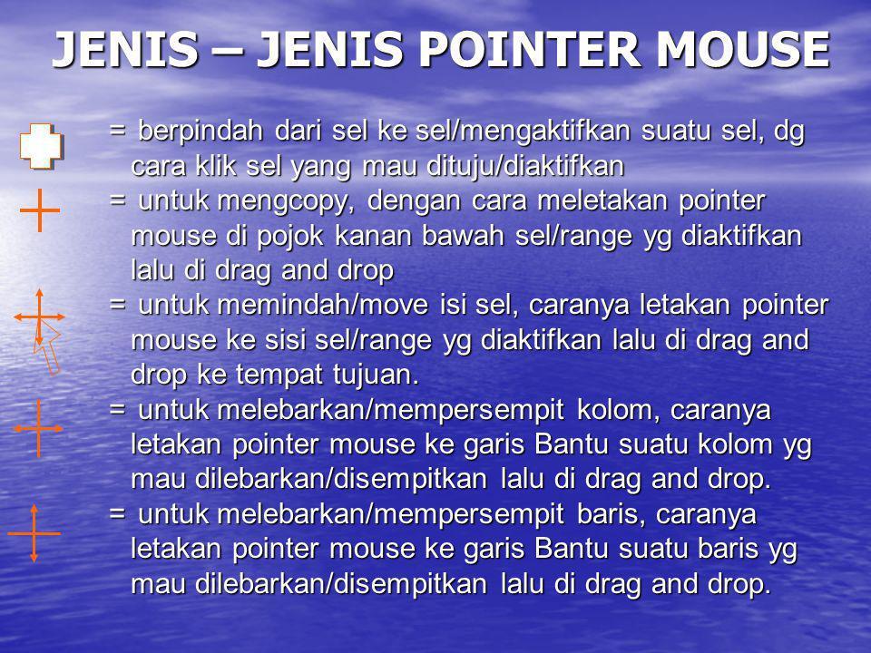 JENIS – JENIS POINTER MOUSE = berpindah dari sel ke sel/mengaktifkan suatu sel, dg cara klik sel yang mau dituju/diaktifkan cara klik sel yang mau dit