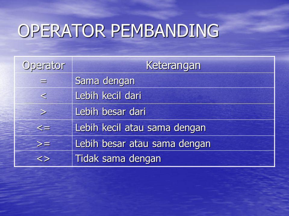 OPERATOR PEMBANDING OperatorKeterangan = Sama dengan < Lebih kecil dari > Lebih besar dari <= Lebih kecil atau sama dengan >= Lebih besar atau sama de