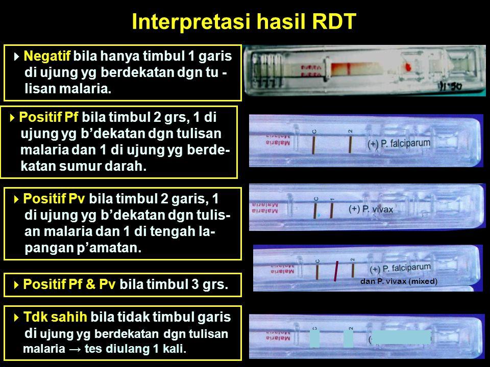 Interpretasi hasil RDT  Negatif bila hanya timbul 1 garis di ujung yg berdekatan dgn tu - lisan malaria.  Positif Pf bila timbul 2 grs, 1 di ujung y