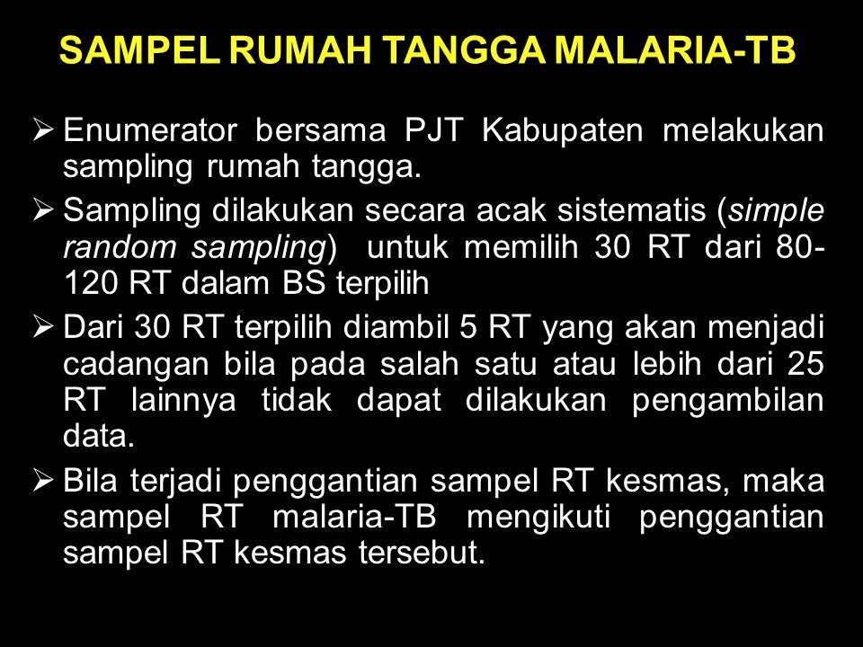 SAMPEL RUMAH TANGGA MALARIA-TB  Enumerator bersama PJT Kabupaten melakukan sampling rumah tangga.  Sampling dilakukan secara acak sistematis (simple