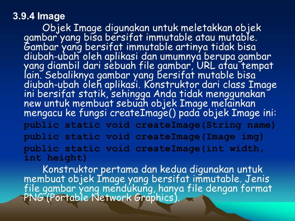 display.setCurrent(form); } public void pauseApp() { } public void destroyApp(boolean unconditional) { } public void commandAction(Command c, Displayable d) { if (d == form) { if (c == cmdKeluar) { destroyApp(false); notifyDestroyed(); } else if (c == cmdAksi) { strText = textField1.getString(); textField2.setString(strText); } Berikut adalah tampilan dari program ini :