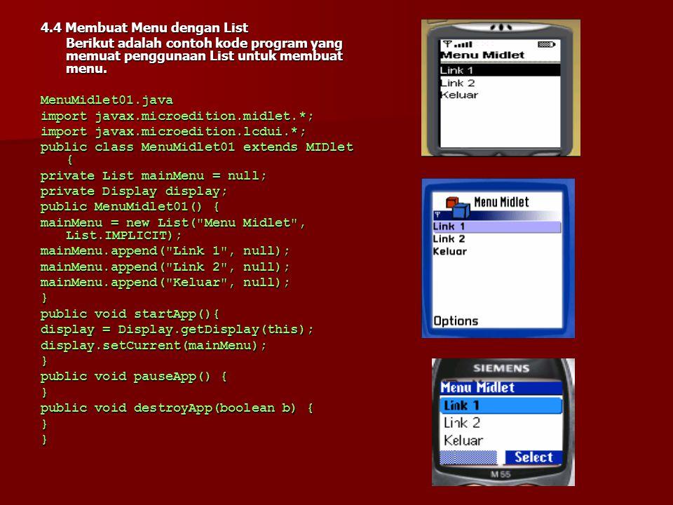 public void paint(Graphics g) { g.setFont(Font.getFont(Font.FACE_SYSTEM,Font.STYLE_BOLD,Font.SIZE_LARGE)); g.drawString( Chocolove! , 0, 0, g.TOP g.LEFT); g.setFont(Font.getFont(Font.FACE_PROPORTIONAL,Font.STYLE_ UNDERLINED, Font.SIZE_LARGE)); g.drawString( Chocolove! , getWidth()/2, getHeight()/2, g.TOP g.HCENTER); g.setFont(Font.getFont(Font.FACE_SYSTEM,Font.STYLE_ITALIC, Font.SIZE_MEDIUM)); g.drawString( Chocolove! , getWidth(), getHeight(), g.BOTTOM g.RIGHT); }} Hasil dari contoh di atas adalah sebagai berikut :