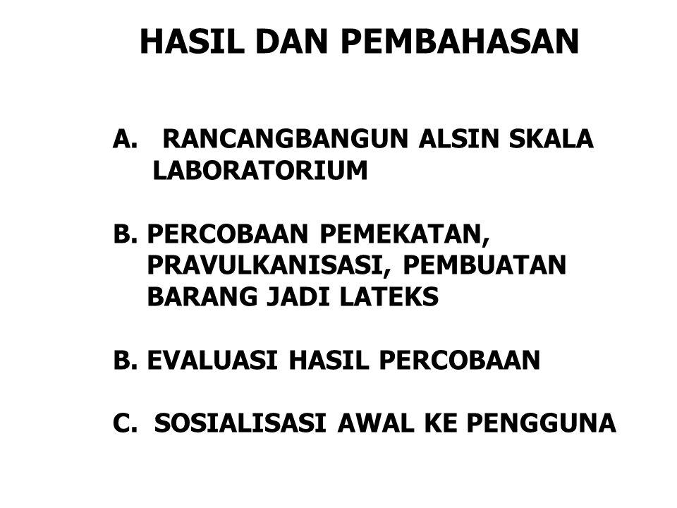 HASIL DAN PEMBAHASAN A. RANCANGBANGUN ALSIN SKALA LABORATORIUM B.PERCOBAAN PEMEKATAN, PRAVULKANISASI, PEMBUATAN BARANG JADI LATEKS B.EVALUASI HASIL PE