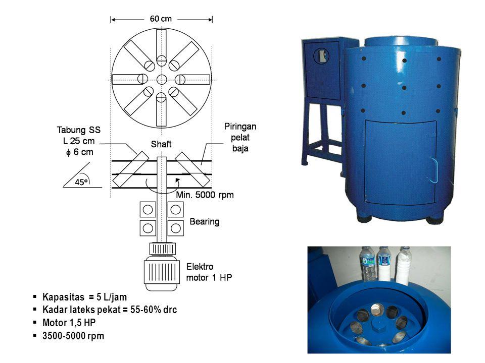  Kapasitas = 5 L/jam  Kadar lateks pekat = 55-60% drc  Motor 1,5 HP  3500-5000 rpm