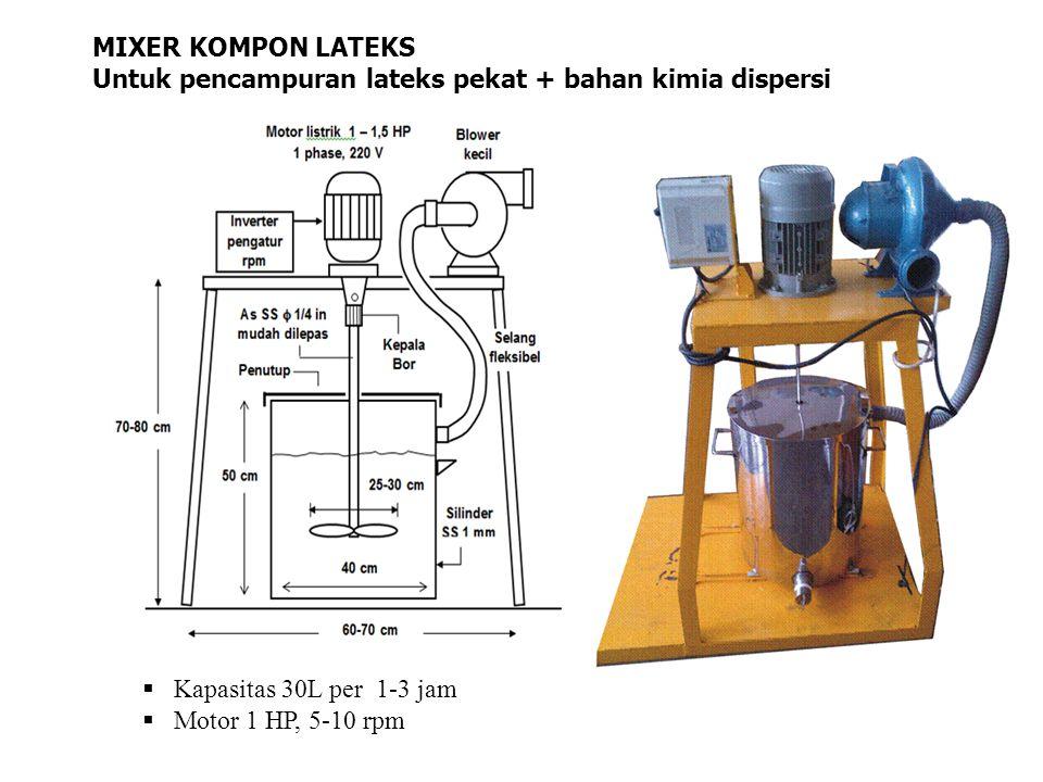 MIXER KOMPON LATEKS Untuk pencampuran lateks pekat + bahan kimia dispersi  Kapasitas 30L per 1-3 jam  Motor 1 HP, 5-10 rpm