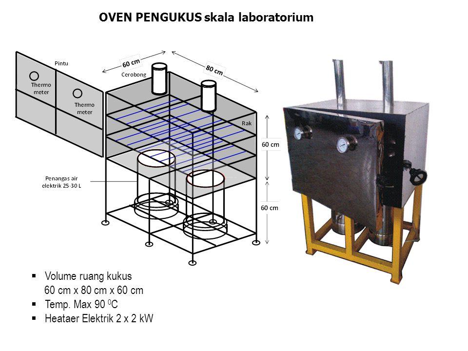 OVEN PENGUKUS skala laboratorium  Volume ruang kukus 60 cm x 80 cm x 60 cm  Temp. Max 90 0 C  Heataer Elektrik 2 x 2 kW