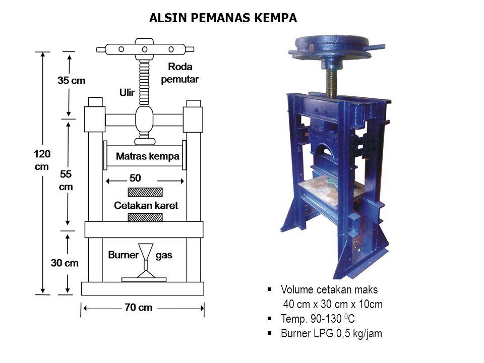 ALSIN PEMANAS KEMPA  Volume cetakan maks 40 cm x 30 cm x 10cm  Temp. 90-130 0 C  Burner LPG 0,5 kg/jam
