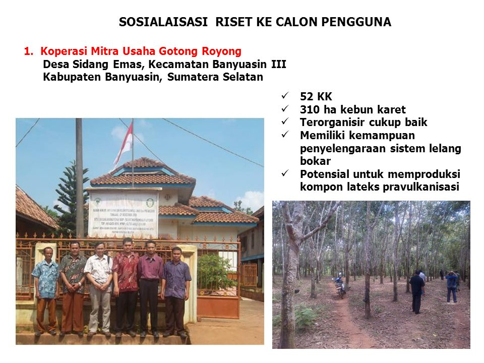 SOSIALAISASI RISET KE CALON PENGGUNA 1. Koperasi Mitra Usaha Gotong Royong Desa Sidang Emas, Kecamatan Banyuasin III Kabupaten Banyuasin, Sumatera Sel
