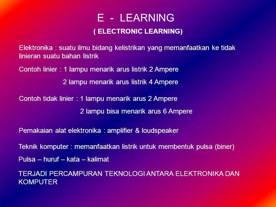 E - LEARNING ( ELECTRONIC LEARNING) Elektronika : suatu ilmu bidang kelistrikan yang memanfaatkan ke tidak linieran suatu bahan listrik Contoh linier