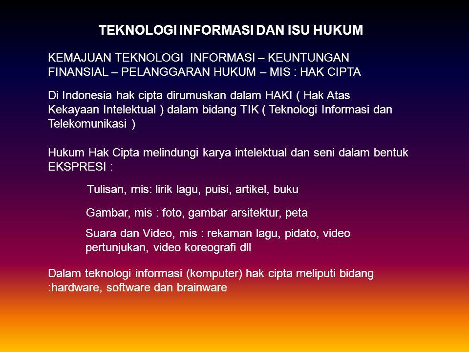 TEKNOLOGI INFORMASI DAN ISU HUKUM KEMAJUAN TEKNOLOGI INFORMASI – KEUNTUNGAN FINANSIAL – PELANGGARAN HUKUM – MIS : HAK CIPTA Di Indonesia hak cipta dirumuskan dalam HAKI ( Hak Atas Kekayaan Intelektual ) dalam bidang TIK ( Teknologi Informasi dan Telekomunikasi ) Hukum Hak Cipta melindungi karya intelektual dan seni dalam bentuk EKSPRESI : Tulisan, mis: lirik lagu, puisi, artikel, buku Gambar, mis : foto, gambar arsitektur, peta Suara dan Video, mis : rekaman lagu, pidato, video pertunjukan, video koreografi dll Dalam teknologi informasi (komputer) hak cipta meliputi bidang :hardware, software dan brainware