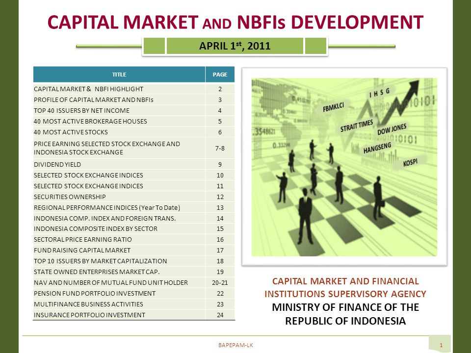 BAPEPAM-LK1 TITLEPAGE CAPITAL MARKET & NBFI HIGHLIGHT2 PROFILE OF CAPITAL MARKET AND NBFIs3 TOP 40 ISSUERS BY NET INCOME4 40 MOST ACTIVE BROKERAGE HOUSES5 40 MOST ACTIVE STOCKS6 PRICE EARNING SELECTED STOCK EXCHANGE AND INDONESIA STOCK EXCHANGE 7-8 DIVIDEND YIELD9 SELECTED STOCK EXCHANGE INDICES10 SELECTED STOCK EXCHANGE INDICES11 SECURITIES OWNERSHIP1212 REGIONAL PERFORMANCE INDICES (Year To Date)1313 INDONESIA COMP.