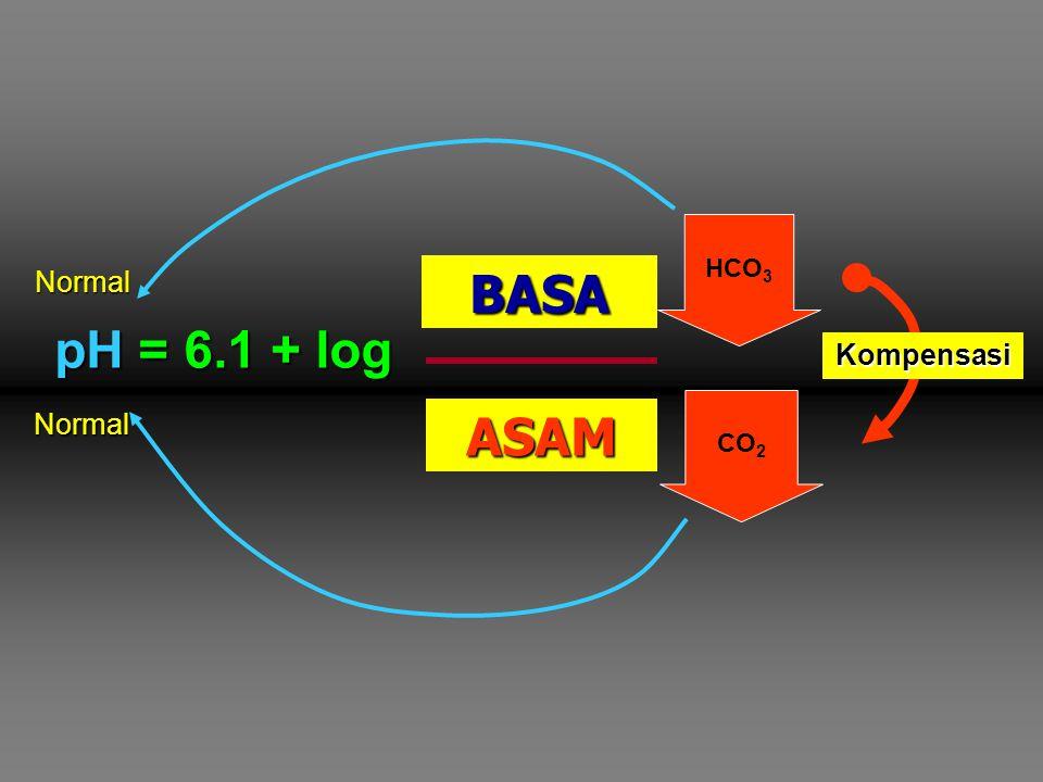 pH = 6.1 + log [HCO 3 - ] pCO 2  pCO 2 GINJAL PARU BASA ASAM CO 2 HCO 3 CO 2 Kompensasi Normal Normal