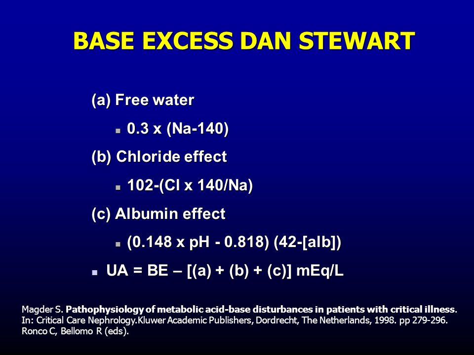 BASE EXCESS DAN STEWART (a) Free water  0.3 x (Na-140) (b) Chloride effect  102-(Cl x 140/Na) (c) Albumin effect  (0.148 x pH - 0.818) (42-[alb]) 