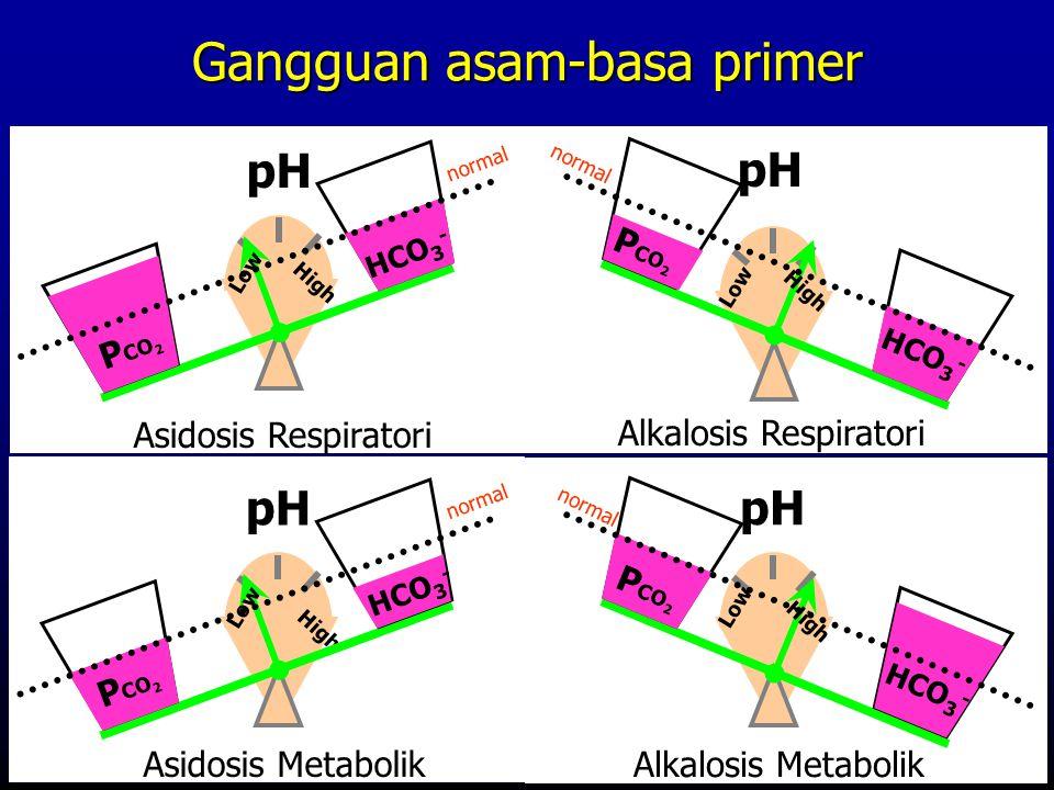 Low pH Alkalosis Metabolik P CO 2 HCO 3 - normal High Low pH Alkalosis Respiratori P CO 2 HCO 3 - normal High pH P CO 2 HCO 3 - Asidosis Respiratori n