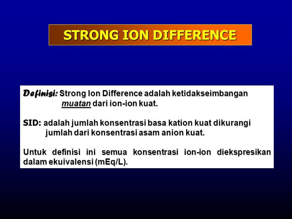 STRONG ION DIFFERENCE Definisi: Strong Ion Difference adalah ketidakseimbangan muatan dari ion-ion kuat. SID: adalah jumlah konsentrasi basa kation ku
