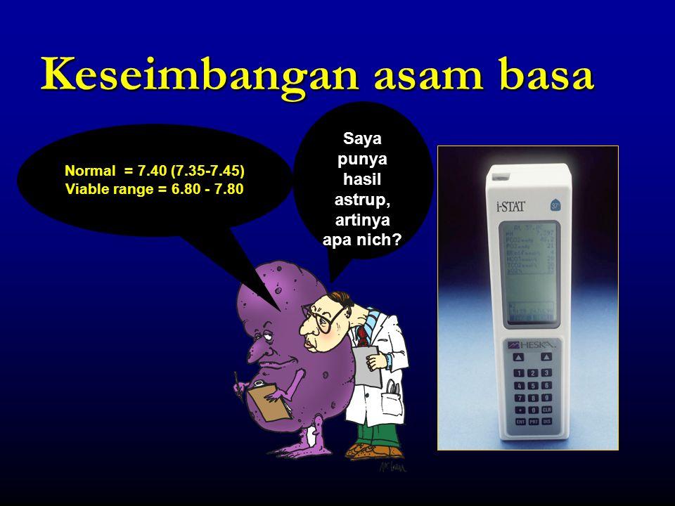 Alb BASE EXCESS DAN STEWART 140 150 102 112 Efek asidifikasi Cl - -10  BE -10 HCO 3 - Na + HCO 3 - Cl - Alb 7.25 / 30 / -10 / 14
