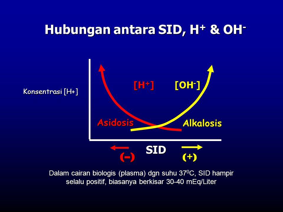 Hubungan antara SID, H + & OH - SID (–)(–)(–)(–) (+)(+)(+)(+) [H + ] [OH - ] Dalam cairan biologis (plasma) dgn suhu 37 0 C, SID hampir selalu positif