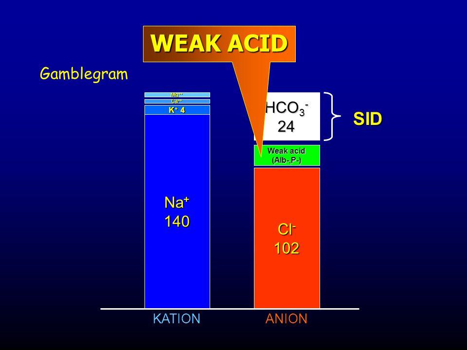 Gamblegram Na + 140 K + 4 Ca ++ Mg ++ Cl - 102 HCO 3 - 24 KATIONANION SID Weak acid (Alb-,P-) WEAK ACID