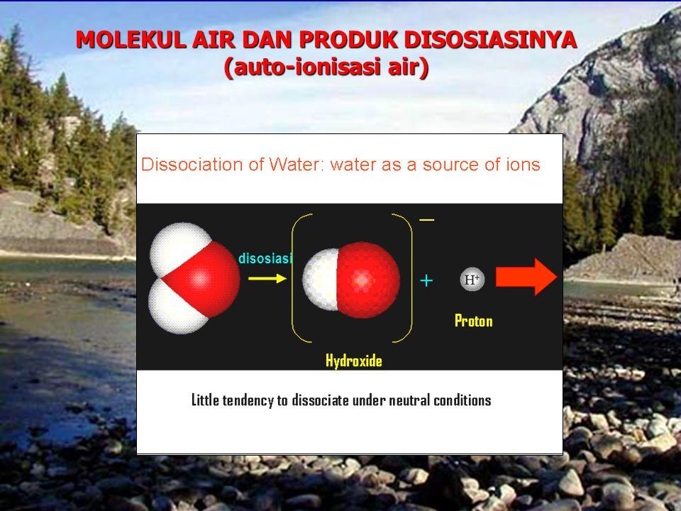 MOLEKUL AIR DAN PRODUK DISOSIASINYA (auto-ionisasi air) disosiasi +