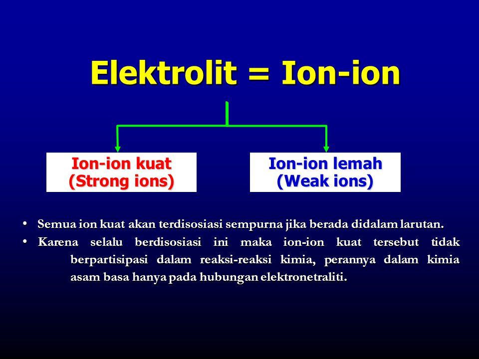 Elektrolit = Ion-ion Ion-ion kuat (Strong ions) Ion-ion lemah (Weak ions) • Semua ion kuat akan terdisosiasi sempurna jika berada didalam larutan. • K