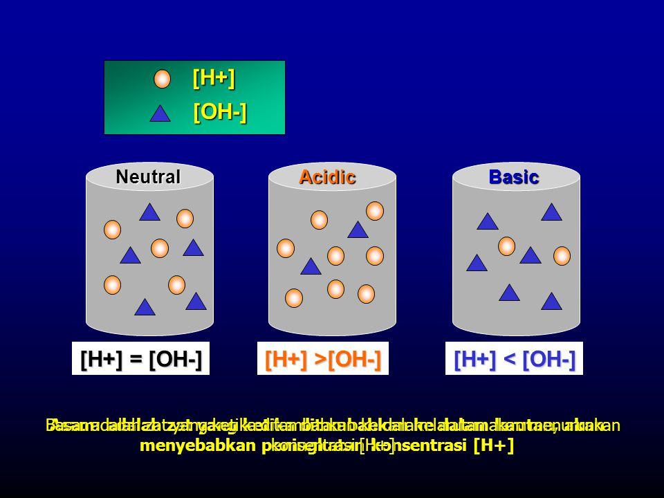 [H+] [OH-] [H+] >[OH-] [H+] = [OH-] [H+] < [OH-] NeutralAcidicBasic Asam: adalah zat yang ketika ditambahkan ke dalam larutan, akan menyebabkan pening