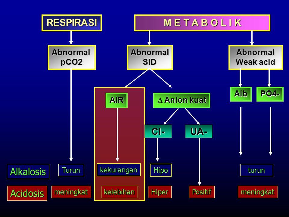 RESPIRASI M E T A B O L I K AbnormalpCO2AbnormalSIDAbnormal Weak acid AlbPO4- Alkalosis Acidosis Turun meningkat turun kelebihan kekurangan Positifmen