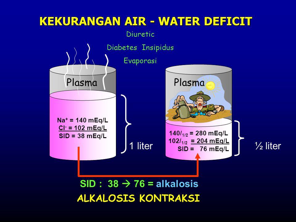 Na + = 140 mEq/L Cl - = 102 mEq/L SID = 38 mEq/L 140/ 1/2 = 280 mEq/L 102/ 1/2 = 204 mEq/L SID = 76 mEq/L 1 liter½ liter KEKURANGAN AIR - WATER DEFICI