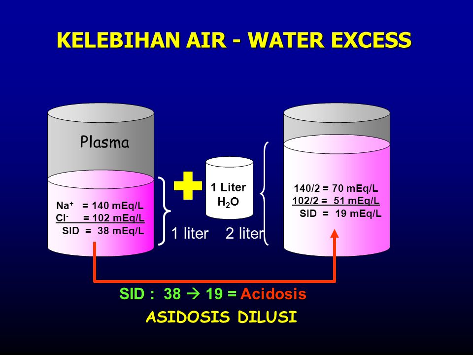 Na + = 140 mEq/L Cl - = 102 mEq/L SID = 38 mEq/L 140/2 = 70 mEq/L 102/2 = 51 mEq/L SID = 19 mEq/L 1 liter 2 liter KELEBIHAN AIR - WATER EXCESS 1 Liter