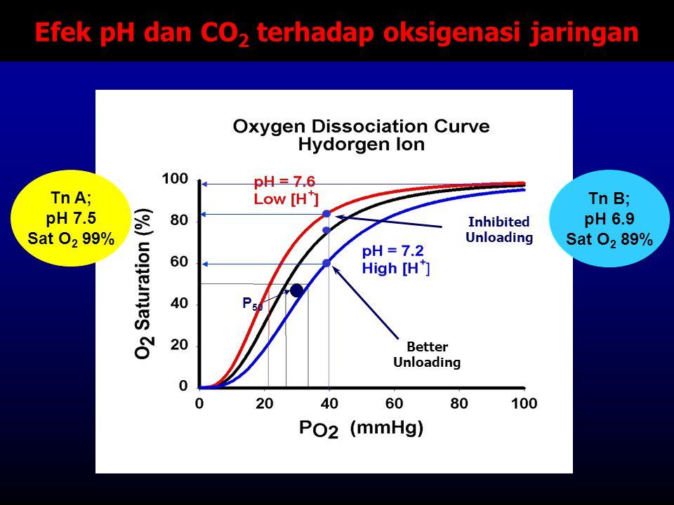 Efek pH dan CO 2 terhadap oksigenasi jaringan Better Unloading Inhibited Unloading P 50 Tn A; pH 7.5 Sat O 2 99% Tn B; pH 6.9 Sat O 2 89%