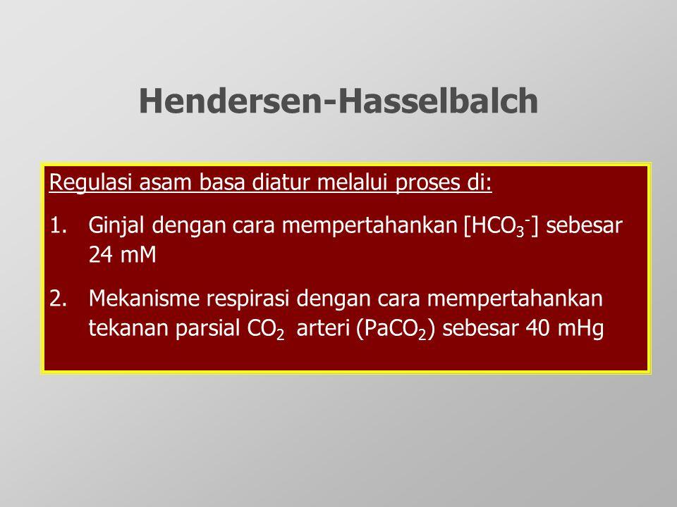 Regulasi asam basa diatur melalui proses di: 1.Ginjal dengan cara mempertahankan [HCO 3 - ] sebesar 24 mM 2.Mekanisme respirasi dengan cara mempertaha