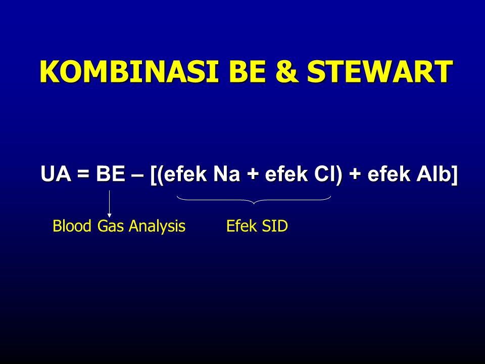 UA = BE – [(efek Na + efek Cl) + efek Alb] KOMBINASI BE & STEWART Efek SIDBlood Gas Analysis